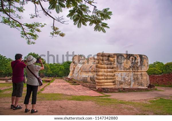 Wat Lokayasutharam a Buddhist temple in the city of Ayutthaya Historical Park,in Thailand.