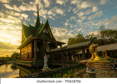 Wat Maha Chedi Kaew in Amphoe Khun Han, Sisaket Province, Thailand. Made with all glass bottles Thailand