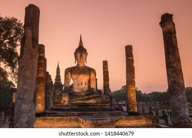 the Wat Mahathat Temple at the Historical Park in Sukhothai in the Provinz Sukhothai in Thailand.   Thailand, Sukhothai, November, 2018