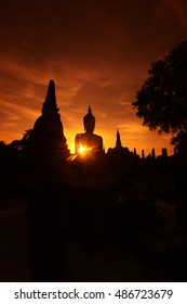 the Wat Mahathat Temple in old sukhothai in thailand