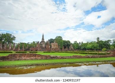 Wat Mahathat or Mahathat Temple in Sukhothai Historical Park, Sukhothai Province, Thailand.