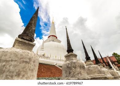 Wat Mahathat Woramahawihan with after raining sky, Nakhon Si Thammarat, Thailand
