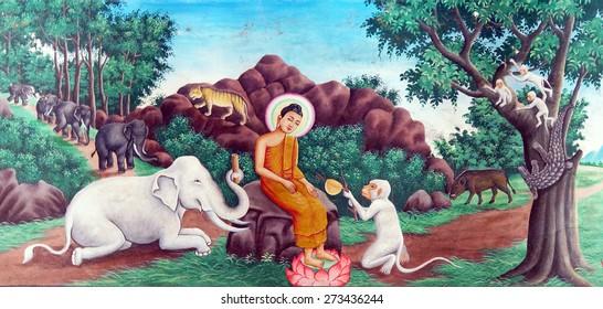 WAT NOKOR, CAMBODIA - FEB 9, 2015 -  Buddha tames the mad elephant, Wat Nokor, 8th century,  Cambodia