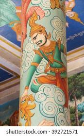 WAT NOKOR, CAMBODIA - FEB 9, 2015 - Guardian spirit painted on column Wat Nokor, 8th century,  Cambodia