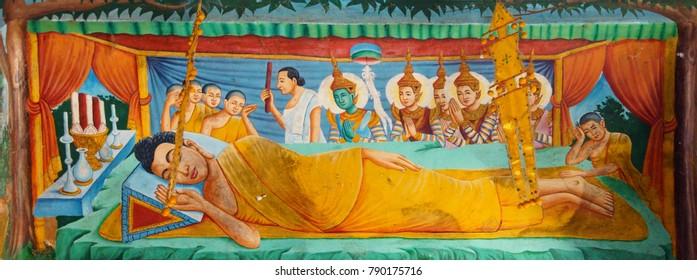 WAT NOKOR, CAMBODIA - FEB 9, 2015 - Death of Buddha fresco,Wat Nokor, 8th century,  Cambodia