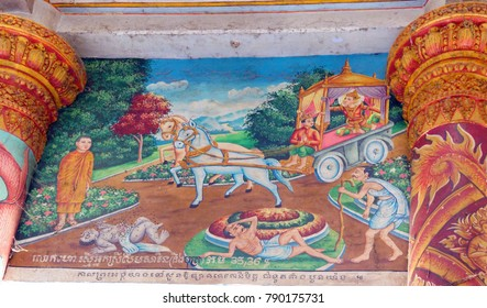 WAT NOKOR, CAMBODIA - FEB 9, 2015 - Buddha first encounters disease, old age and death, painting at Wat Nokor, 8th century,  Cambodia