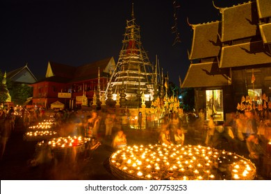 Wat Phan Tao Temple, Chiangmai,Thailand - February 14, 2014: Floating lantern