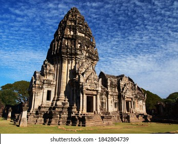 The wat of the Phima istorical park in Thailand with beautiful blue sky and scateed clouds