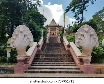 Wat Phnom ,Buddhist temple .It is the tallest religious structure in the city. It is the central point of Phnom Penh.