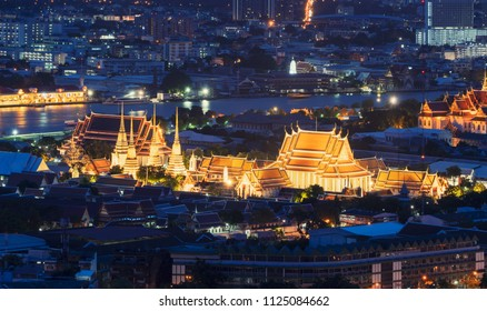 Wat Pho or Wat Phra Chetuphon Vimolmangklararm Rajwaramahaviharn at night in Bangkok City, Thailand. Buddhist temple.