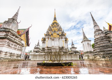 Wat Phra Boromathat Chaiya Ratchaworawihan with after raining sky in Nakhon Si Thammarat, famous temple in south of Thailand