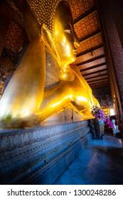 Wat Phra Chetuphon Reclining Buddha Bangkok Thailand Head and Elbow Close-up