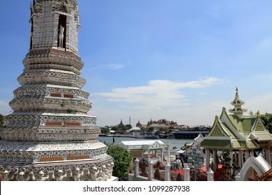 Wat Phra Kaew and Chao Phraya river, view from Wat Arun