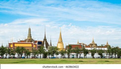 Wat Phra Kaew, Grand Palace, Bangkok. (View from the lawn or Sanam Luang)