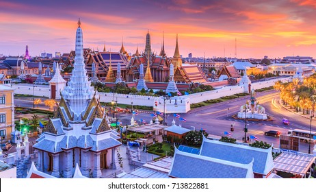 Wat Phra Kaew or Wat Phra Si Rattana Satsadaram, Temple of the Emerald Buddha and Grand Palace, Beautiful Landmark of Bangkok City, Bangkok, Thailand.