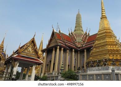 Wat Phra Si Rattana Satsadaram, Temple of the Emerald Buddha, Wat Phra Kaew, in Grand Palace, Bangkok, Thailand