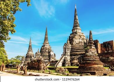 Wat Phra Si Sanphet is a popular tourist attraction in Ayutthaya Thailand.