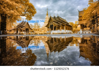 Wat phra sing temple after the rain in Chiang mai Thailand