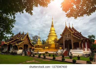 Wat phra singh is landmark of chiang mai , Thailand. Goldent pagoda and wood church at Wat Phra Singh temple is traditional temple of Chaing Mai , Thailand.