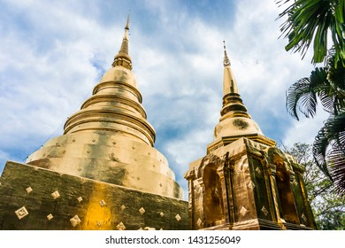 WAT PHRA SINGH PAGODA | The beautiful gold shining pagoda (Chedi) in Wat Phra Singh temple that located in Chiang Mai old town.