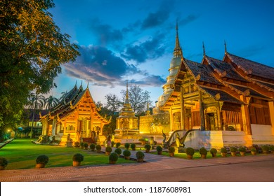 Wat Phra Singh temple in the old town center of Chiang Mai,Thailand