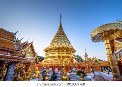 Wat Phra That Doi Suthep with clear blue sky and evening sunlight, the most famous temple in Chiang Mai, Thailand