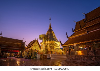 Wat Phra That Doi Suthep with light up and twilight sky, the most famous temple in Chiang Mai, Thailand