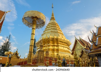 Wat Phra That Doi Suthep is the popular tourist destination of Chiang Mai, Thailand.