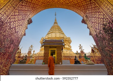 Wat Phra That Doi Suthep is famous visiting place and attraction of Chiang Mai, Thailand.