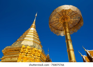 Wat Phra That Doi Suthep with blue sky in Chiang Mai. The attractive sightseeing place for tourists and landmark of Chiang Mai,Thailand.