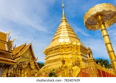 Wat Phra That Doi Suthep is tourist attraction of Chiang Mai, Thailand, golden pagoda.