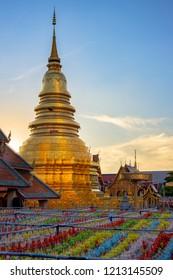 Wat Phra That Hariphunchai in Loy Kratong Festival