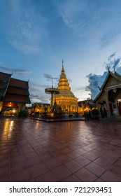 Wat Phra That Hariphunchai with Twilight time in Lamphun Province, Thailand. Most famous temple in northern of Thailand.