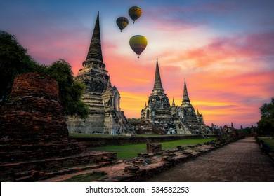 Wat Phrasisanpetch at sunset in Ayutthaya Historical Park, Thailand