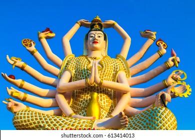 Wat Plai Laem Temple, the big Guan Yin statue on the island Koh Samui, Thailand.