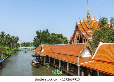 wat prok charoen by damnoen saduak in ratchaburi thailand. A small buddhist temple nearby the canal water.