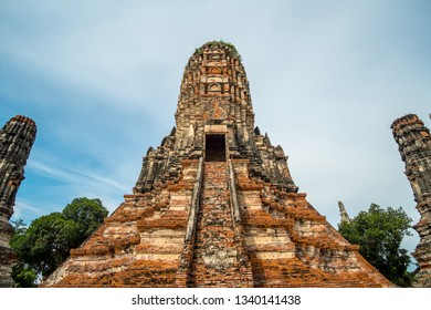 Wat Ratcha Burana, a restored temple ruin located on Ayutthaya's city island inside the Historical Park, Thailand