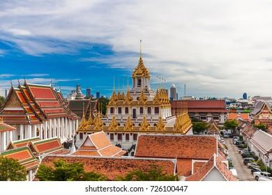 Wat Ratchanaddaram Temple, Loha Prasat Metal Castle in Bangkok ,Thailand.