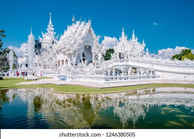 Wat Rong Khun, aka The White Temple, in Chiang Rai, Thailand. Panorama white tempple Thaialnd