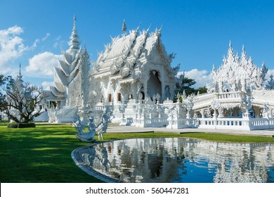 Wat Rong Khun designed and built by Professor Daniel kosit Manuel which desire to build temples, like the town of paradise, where the human touch,Chiang Rai province Thailand