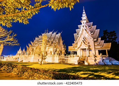 Wat Rong Khun (White Temple) at the night, Chiang Rai, Thailand