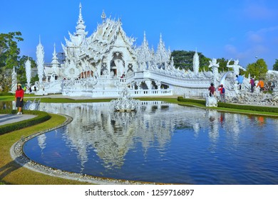 Wat Rong Kun, perhaps better known to foreigners as the White Temple, Chaing Rai, Thailand, December 2018