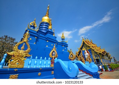 Wat Rong Sue Ten -February 10, 2018  : Feel the touch of Thai culture at Wat Rong Sue Ten or blue temple against blue sky. Unseen blue temple in Chiang Rai,  Thailand.