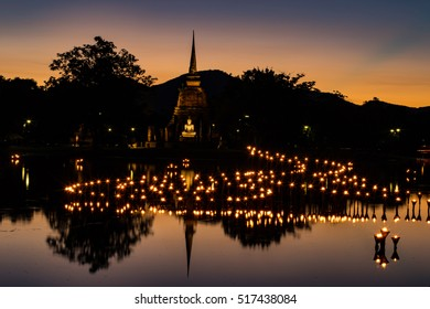 Wat Sa Si at twilight, Historical Park, Thailand