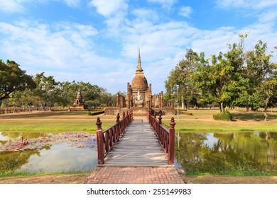 Wat Sa Si and wooden bridge, Shukhothai Historical Park, Thailand