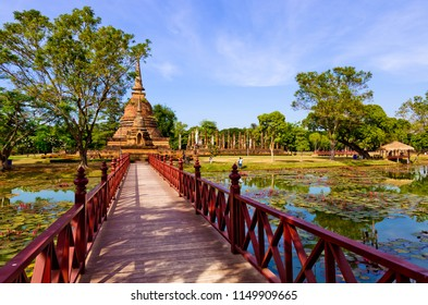 Wat sa sri  Sukhothai temple in  Sukhothai historical park. Sukhothai, Thailand.This is declared as a World Heritage Site by UNESCO.