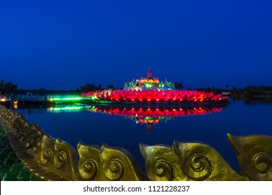Wat Saman Rattanaram, Thai Temple relics Religious with water reflection and, The Sacred Lotus Flower shapes, Beautiful Serpent At Saman Rattanaram Temple, Chachoengsao province, Thailand