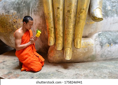 Wat Si Chum, Sukhothai,Thailand, 08 june 2020, buddhist monk meet in the temple