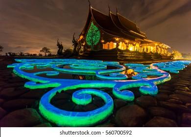 Wat sirindhorn wararam at night Ubon Ratchathani at Thailand