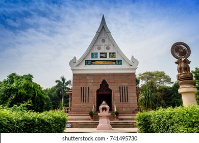 The Wat Thai Sarnath Temple of Lord Budhha with the Ashoka pillar at Sarnath, Varanasi,India.